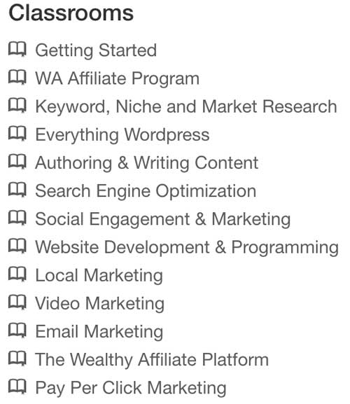 Wealthy Affiliate Review Classrooms