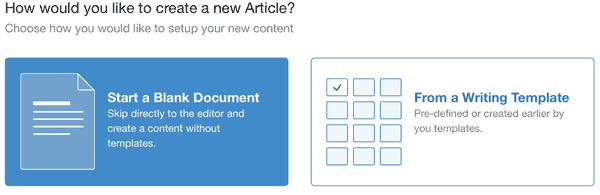 Article Writer Tool Create New Article Options