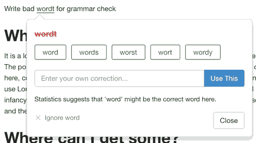 Content Writing Tool Grammar Spelling Check