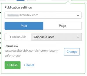 Web Content Management System Publish Options